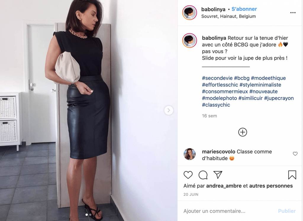 Babolinya jupe crayon tendance cuir