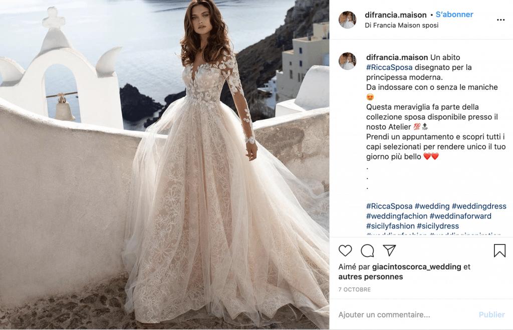 Di Francia Maison robe de mariée tendance en tulle et dentelle