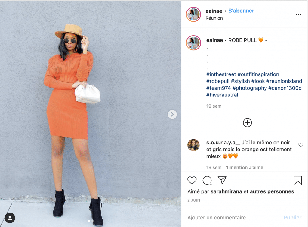 Eainae robe pull tendance orange