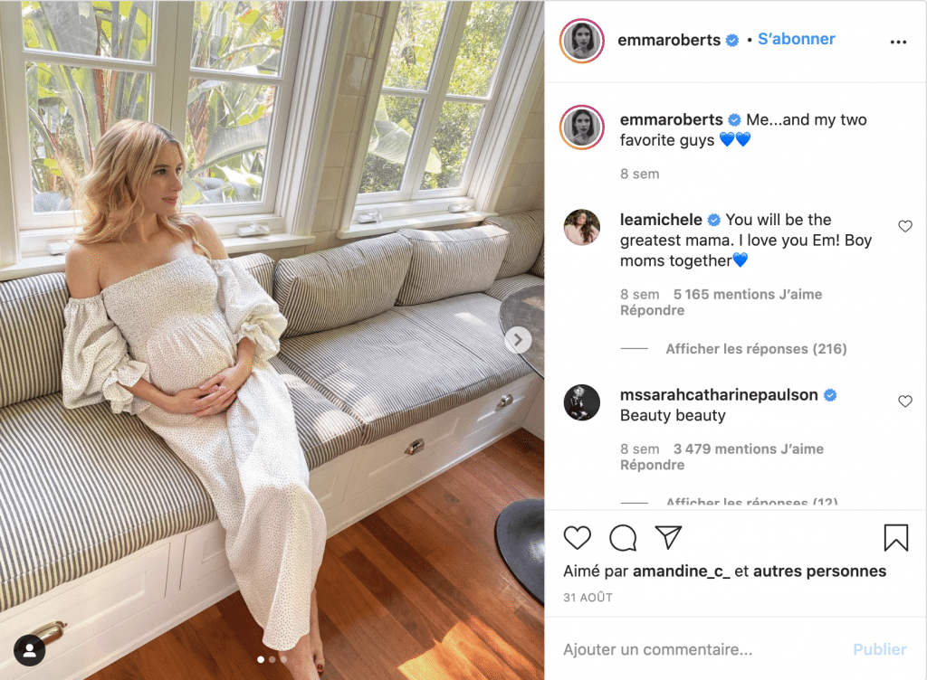 emma roberts robe de grossesse longue