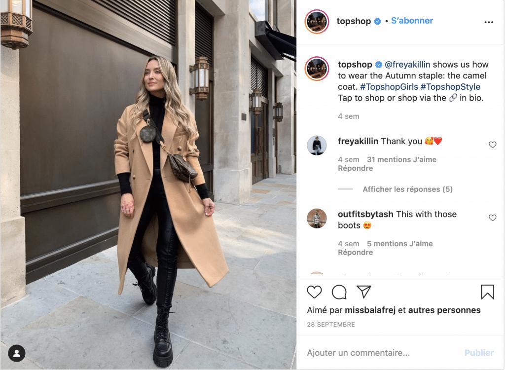 TopShop meilleure marque vêtements pas chers
