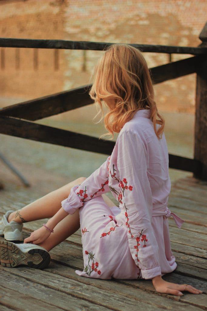 Le kimono sur une jupe