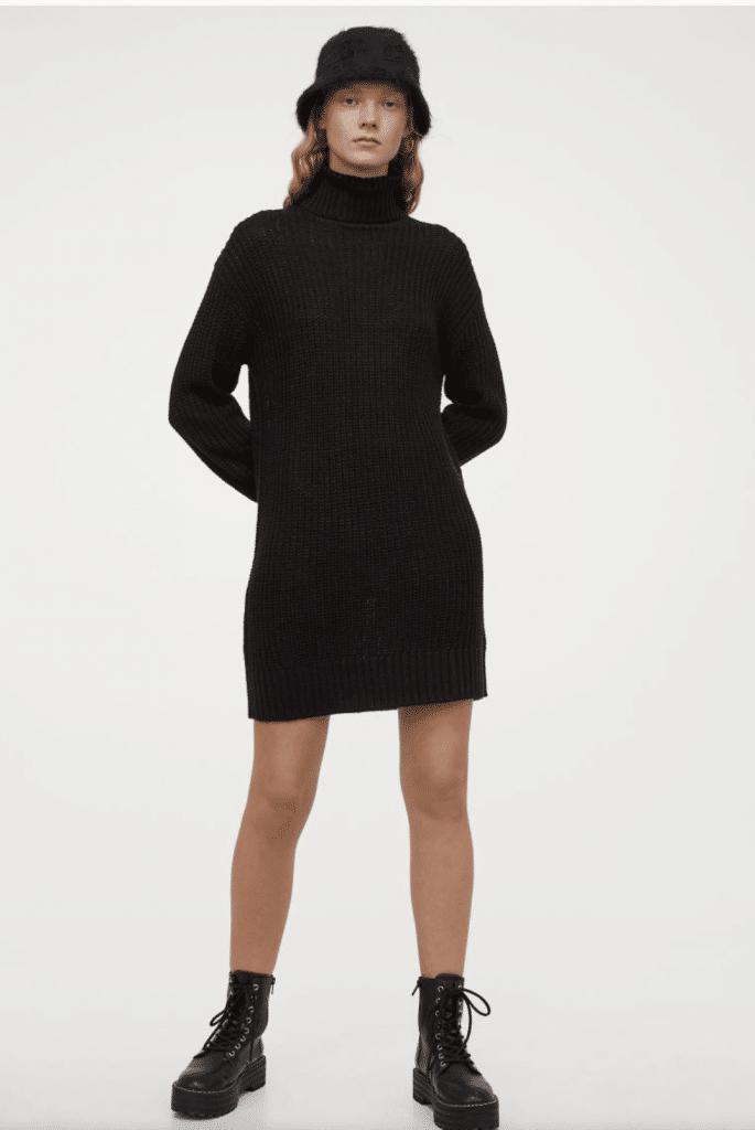 tendance robe pull modèle noir mi cuisse col roulé