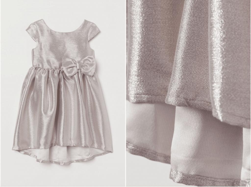 robe de soirée petite fille argentée métallique