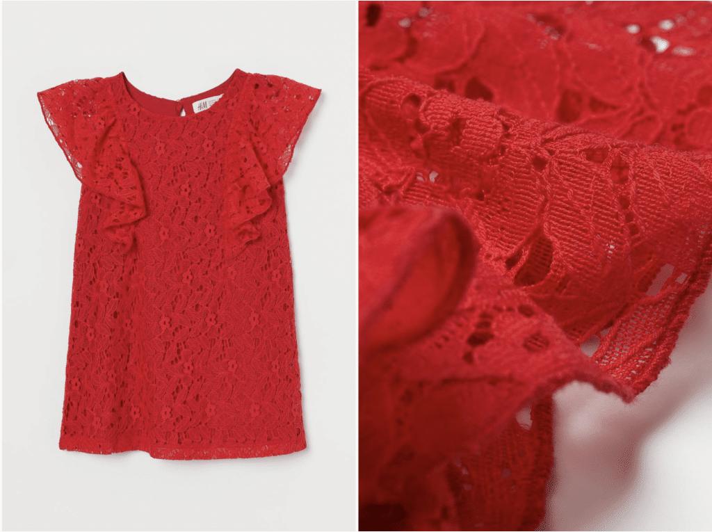 H&M robe de petite fille rouge dentelle