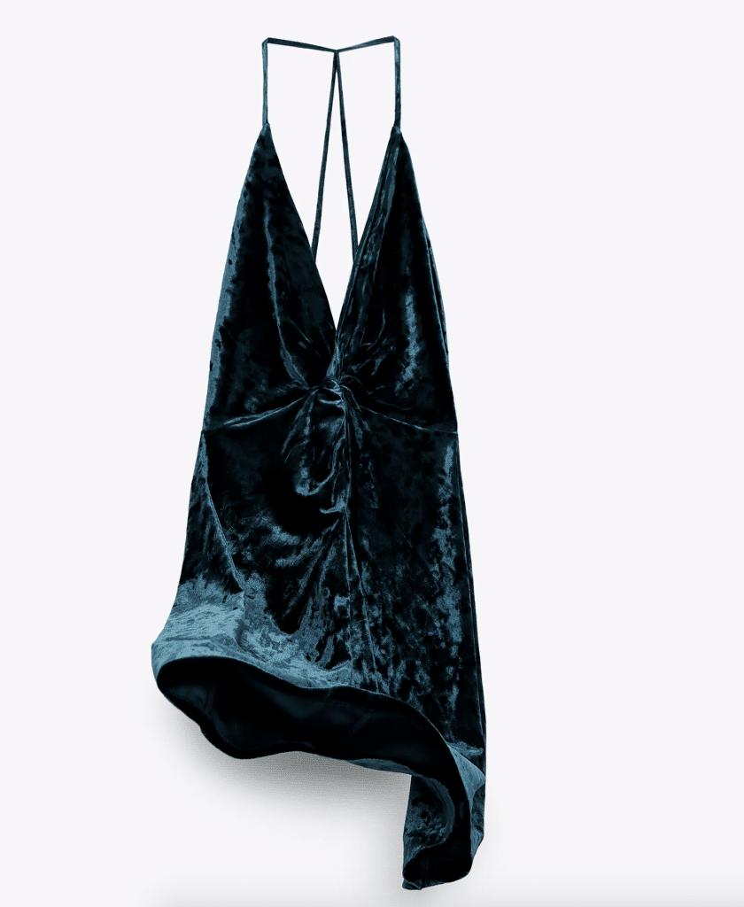 Zara commande robe de soirée en velours en ligne