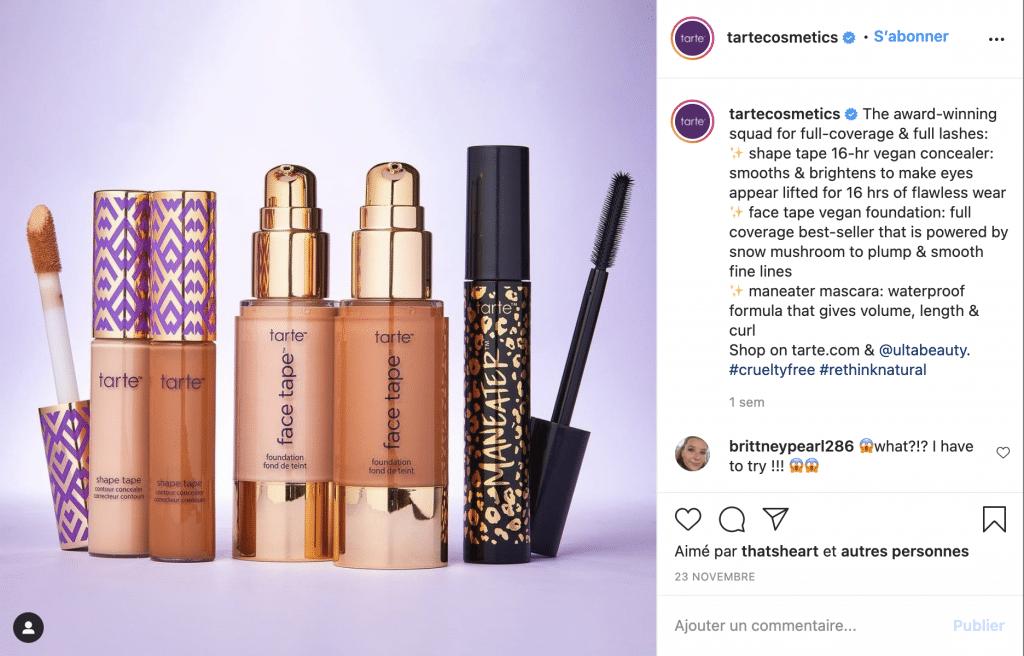 tarte cosmetics marque de maquillage vegan